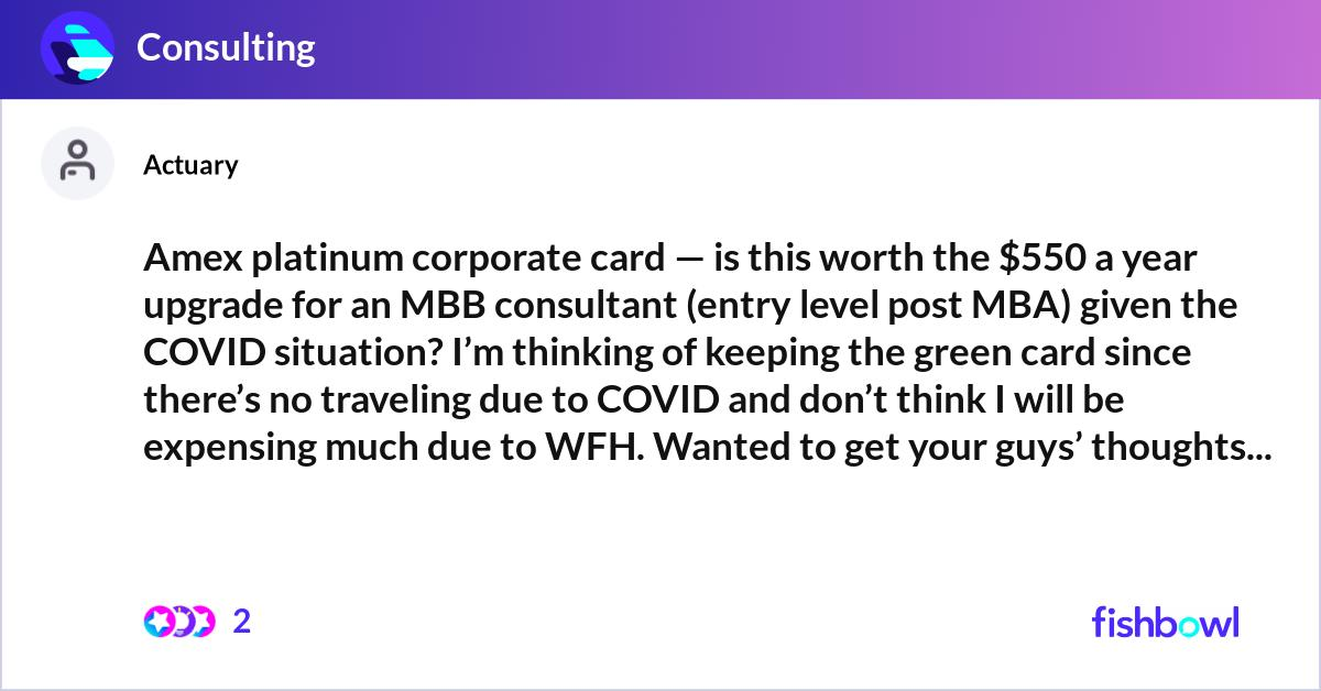Amex platinum corporate card — is this worth the $550 a ...