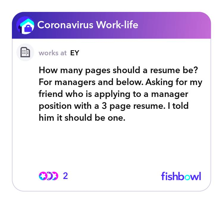 how many pages should a resume be  for managers and below